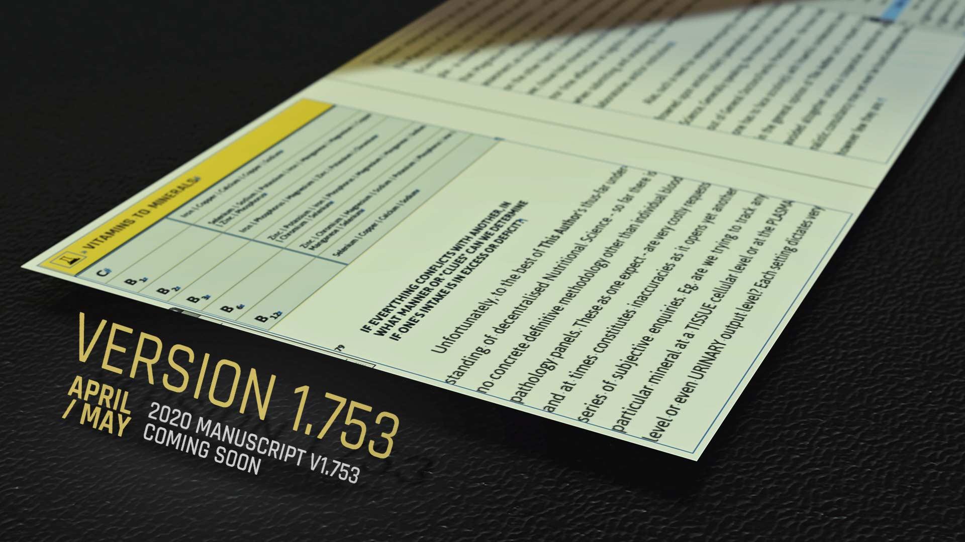 Coming Soon: Version 1.753 of manuscript